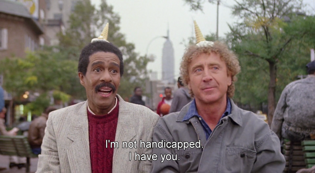 Richard Pryor e Gene Wilder nella scena finale di Non guardarmi: non ti sento